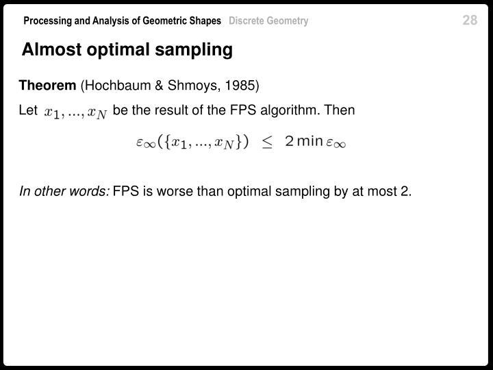 Almost optimal sampling