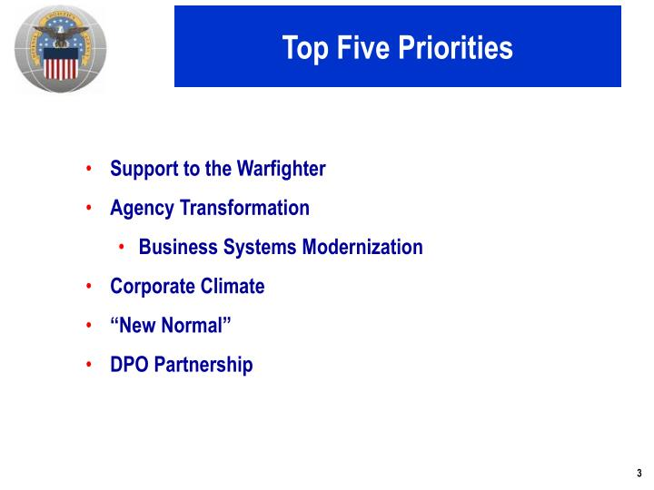 Top five priorities