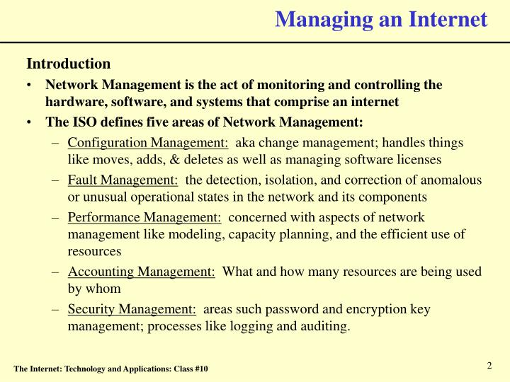 Managing an internet