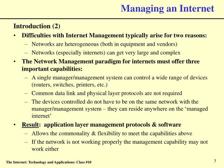 Managing an internet3