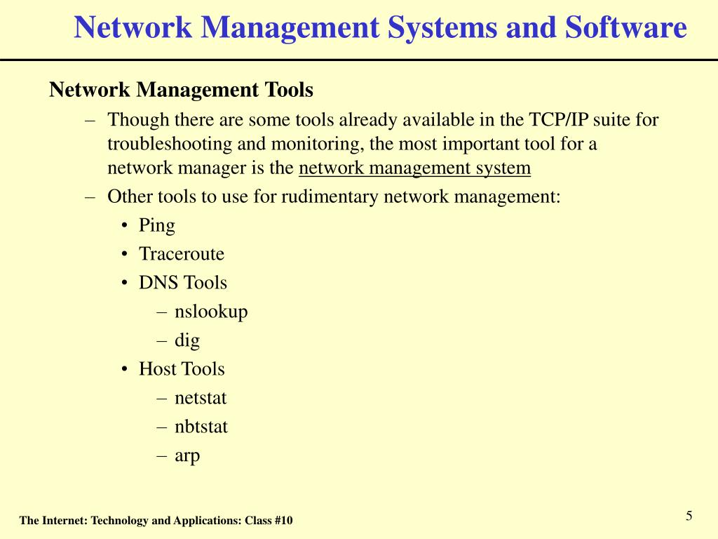 Network Management Systems and Software