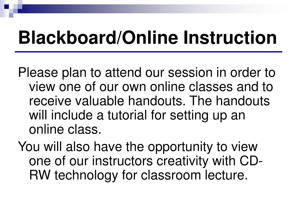Blackboard/Online Instruction