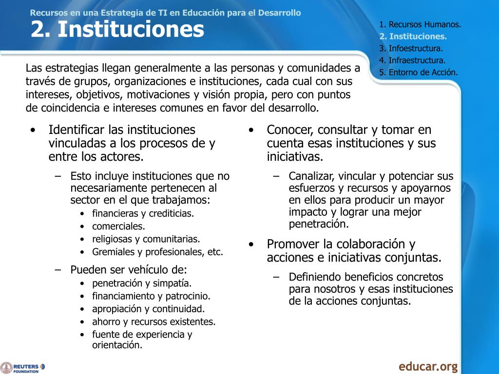 Identificar las instituciones vinculadas a los procesos de y entre los actores.