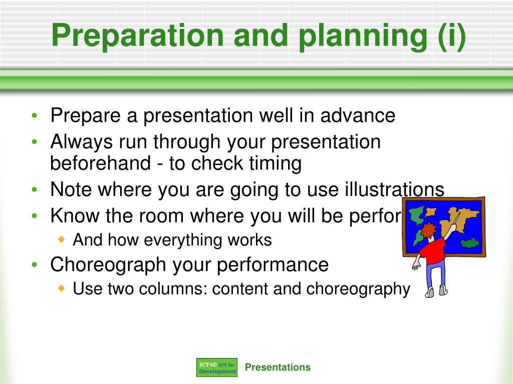 Preparation and planning (i)