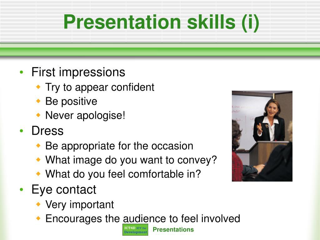 Presentation skills (i)