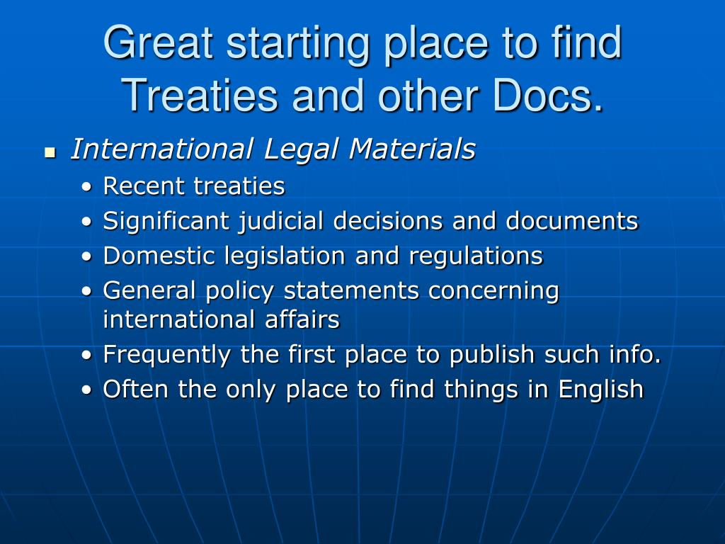 Great starting place to find Treaties and other Docs.