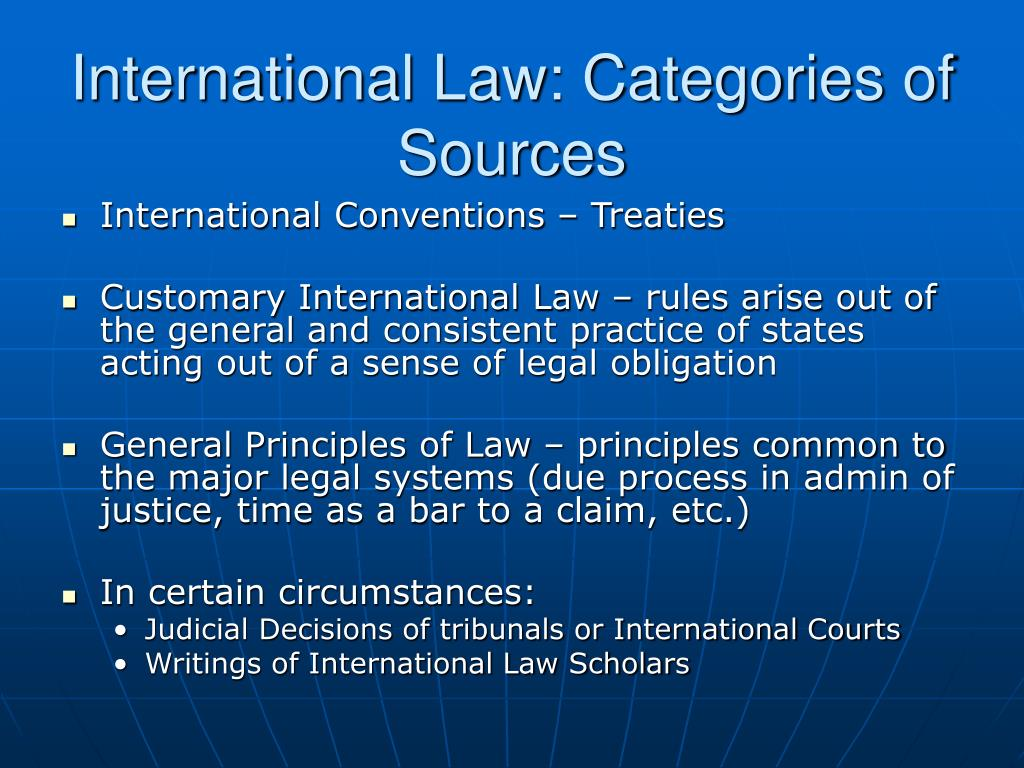 International Law: Categories of Sources