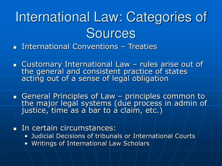 International law categories of sources