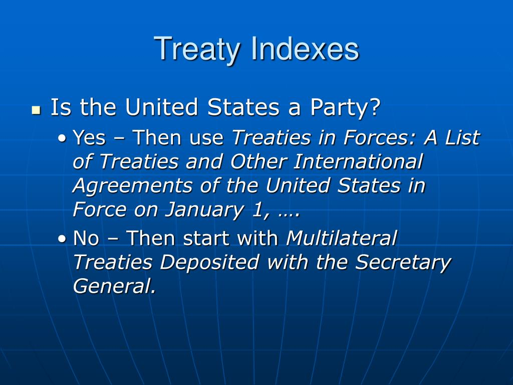 Treaty Indexes