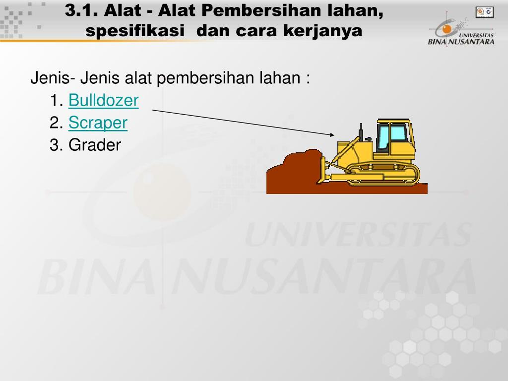 3.1. Alat - Alat Pembersihan lahan, spesifikasi  dan cara kerjanya