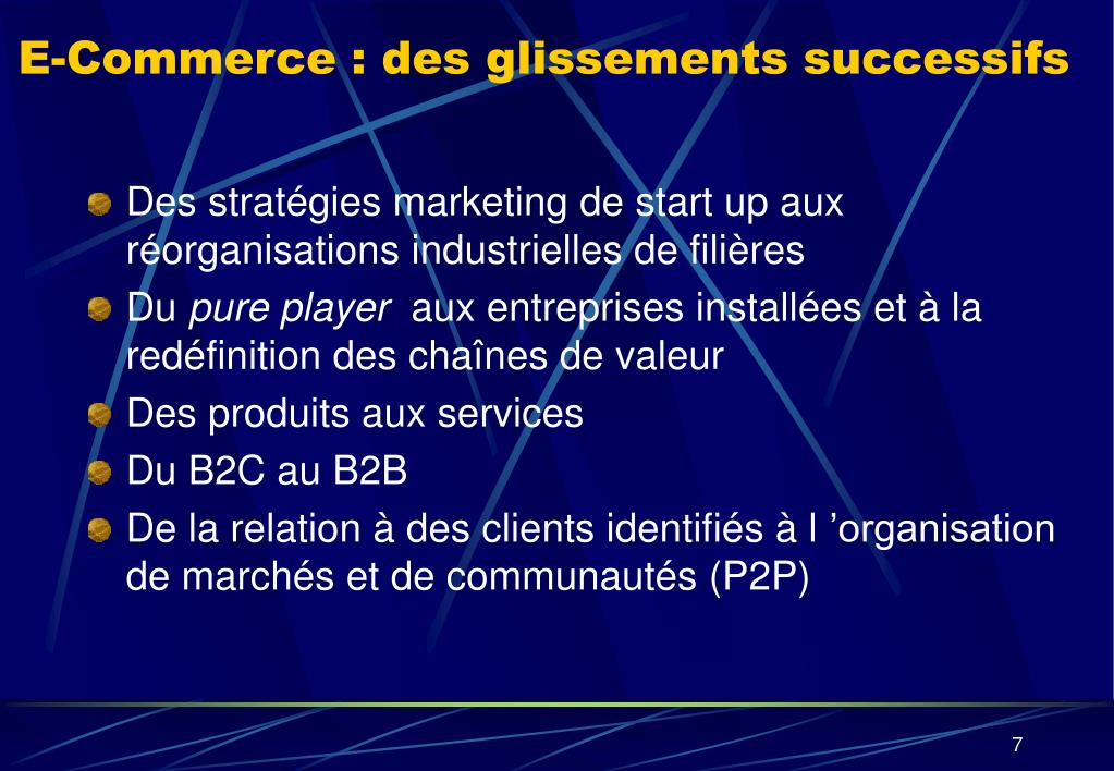 E-Commerce : des glissements successifs