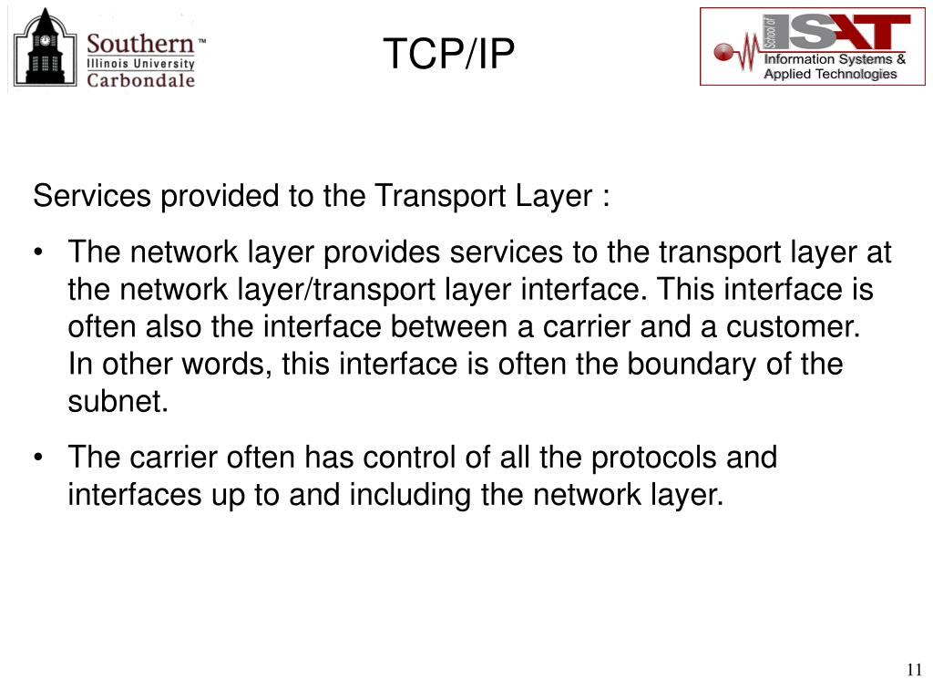 Services provided to the Transport Layer :