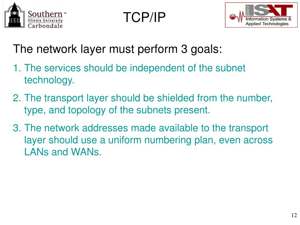 The network layer must perform 3 goals:
