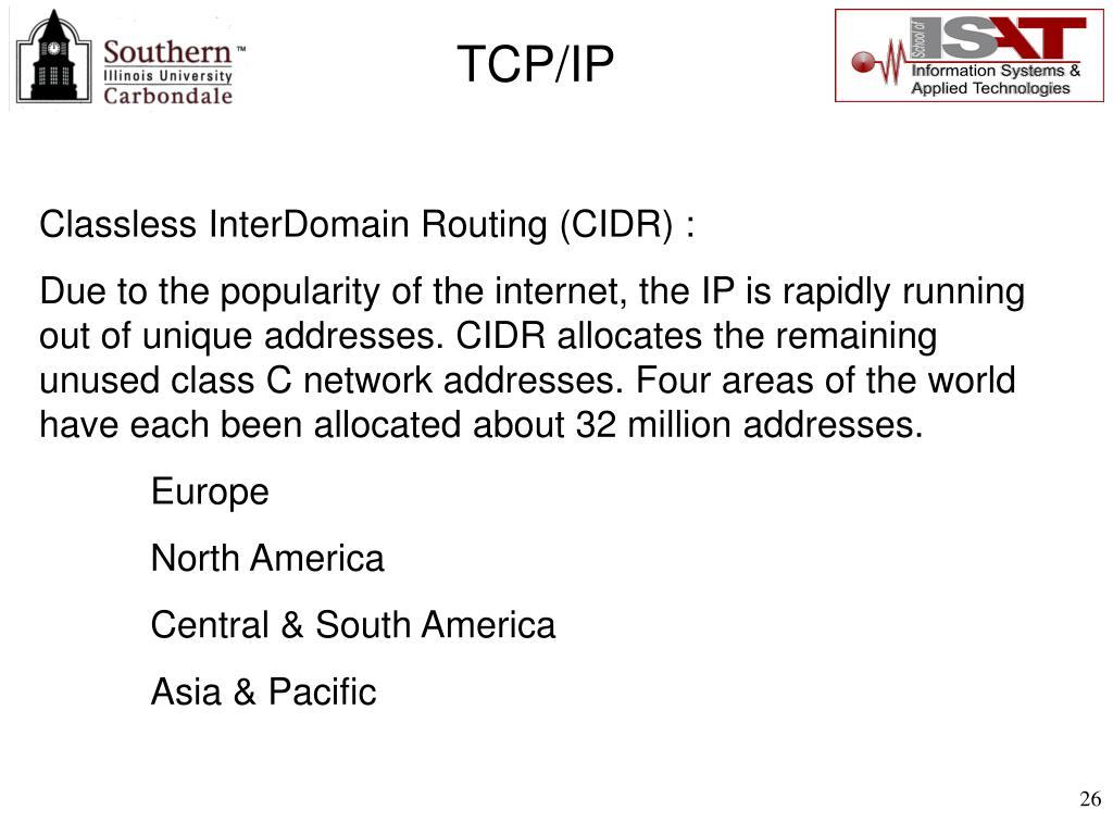 Classless InterDomain Routing (CIDR) :