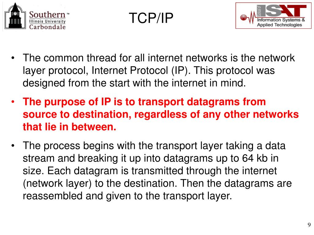 The common thread for all internet networks is the network layer protocol, Internet Protocol (IP). This protocol was designed from the start with the internet in mind.