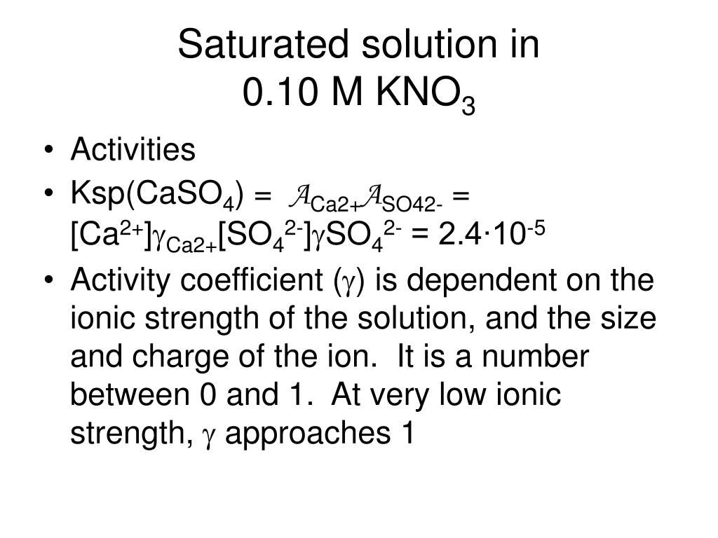 Saturated solution in