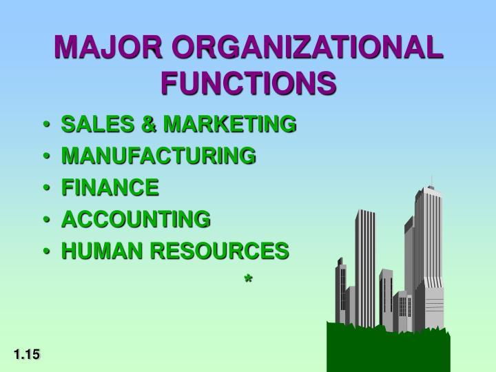 MAJOR ORGANIZATIONAL FUNCTIONS
