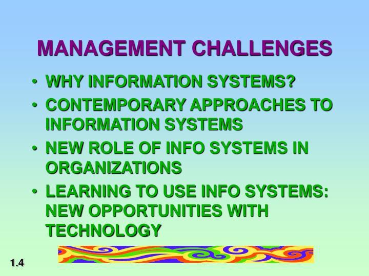 MANAGEMENT CHALLENGES