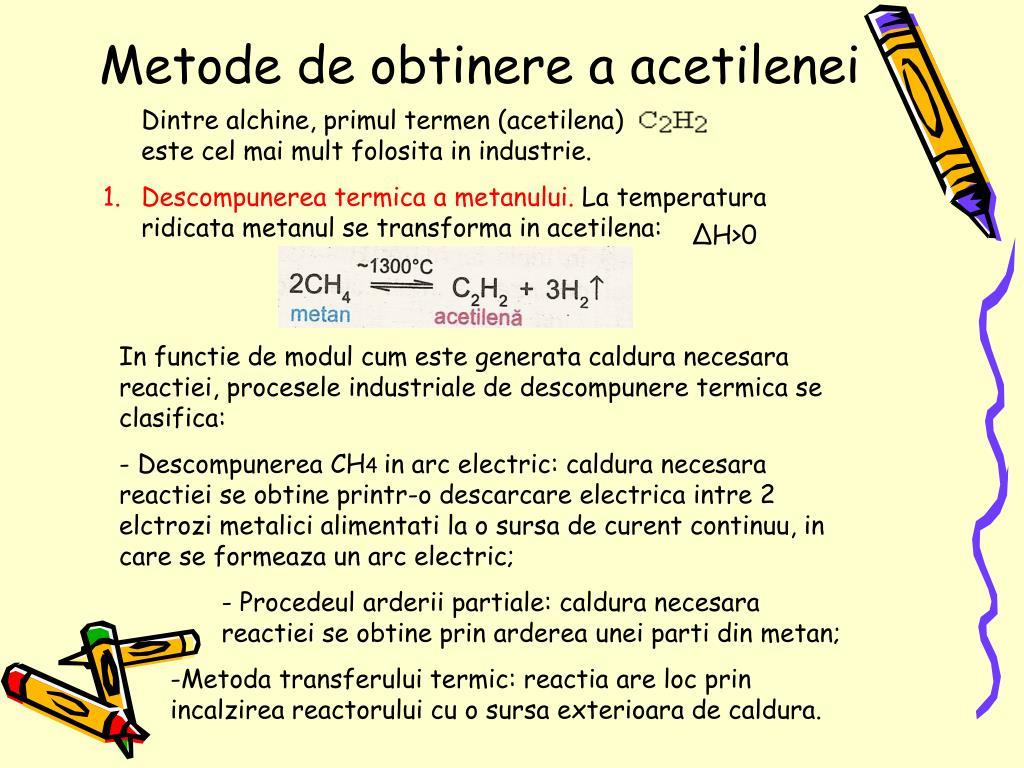 Metode de obtinere a acetilenei