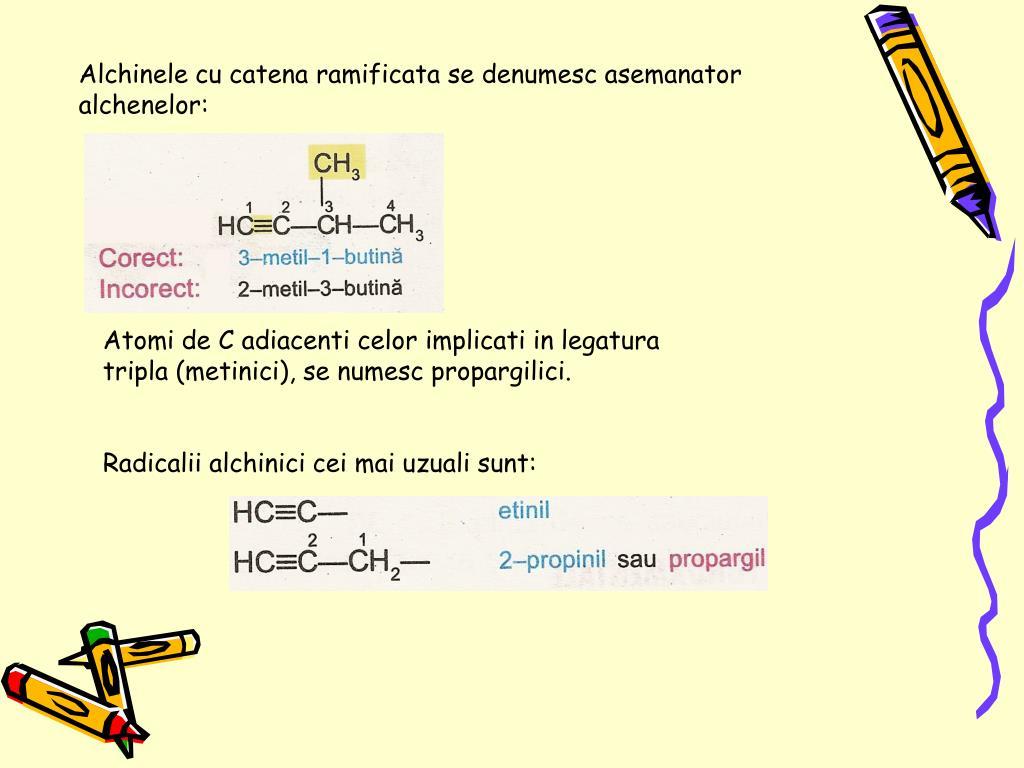 Alchinele cu catena ramificata se denumesc asemanator alchenelor:
