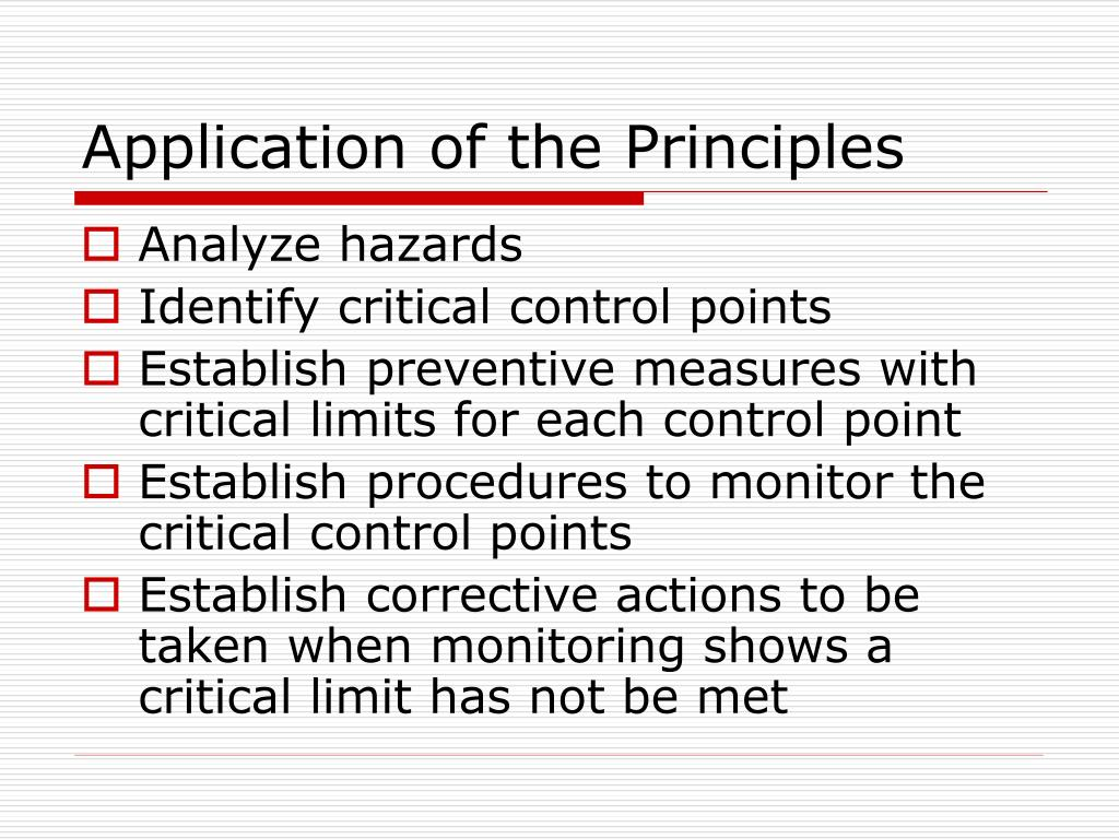 Application of the Principles