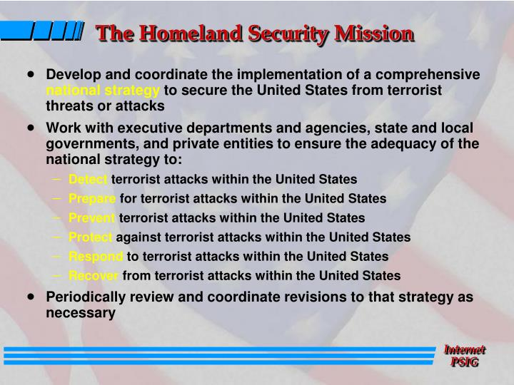 The Homeland Security Mission