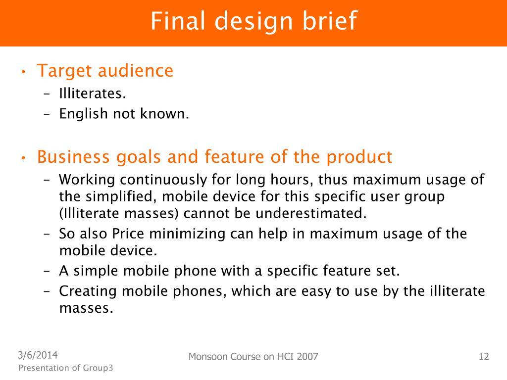 Final design brief