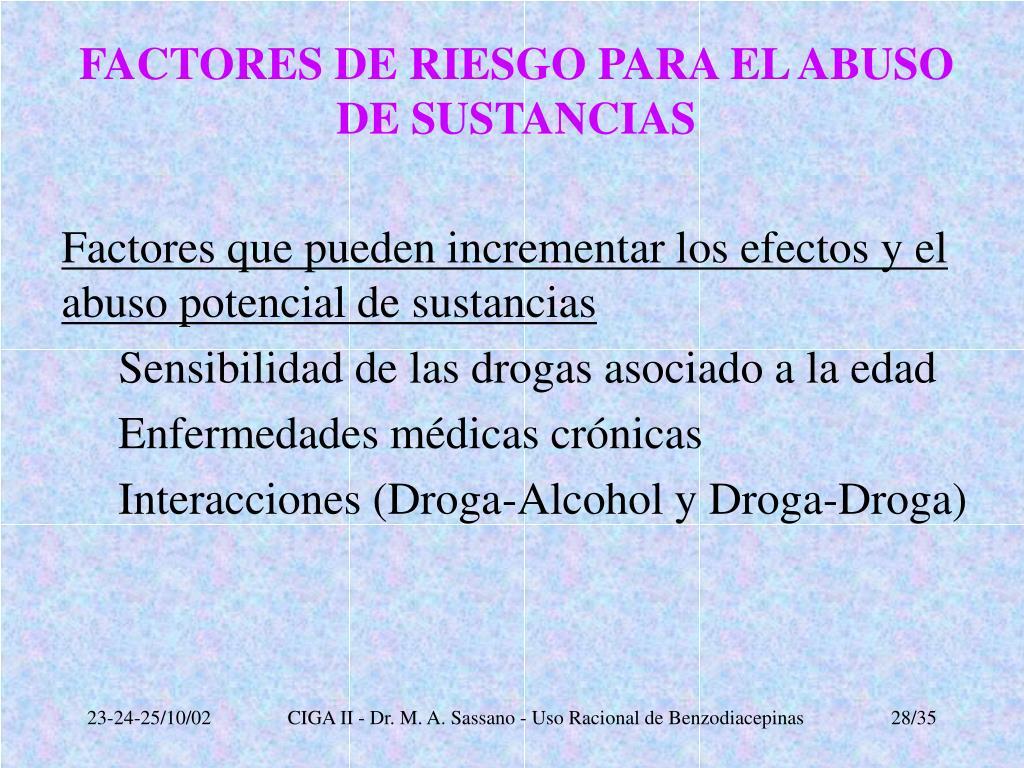 FACTORES DE RIESGO PARA EL ABUSO DE SUSTANCIAS