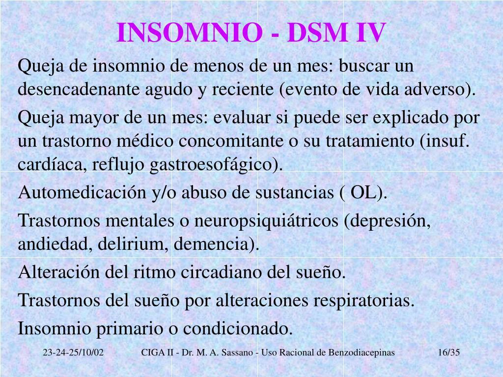 INSOMNIO - DSM IV