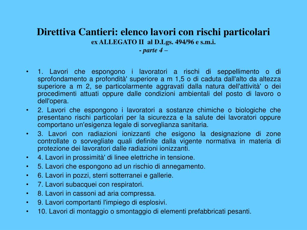 Direttiva Cantieri: elenco lavori con rischi particolari