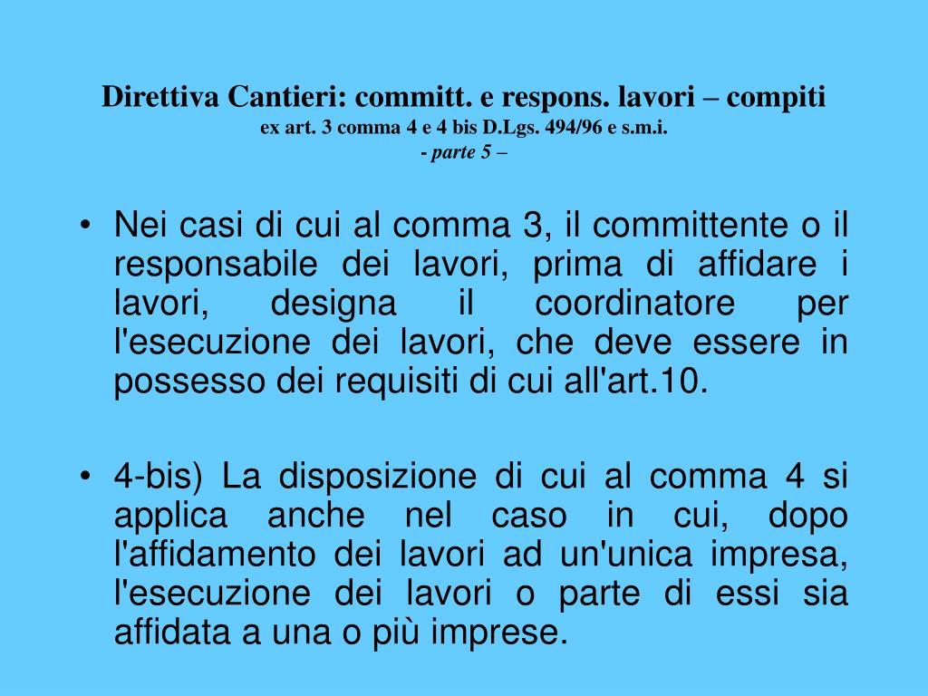 Direttiva Cantieri: committ. e respons. lavori – compiti
