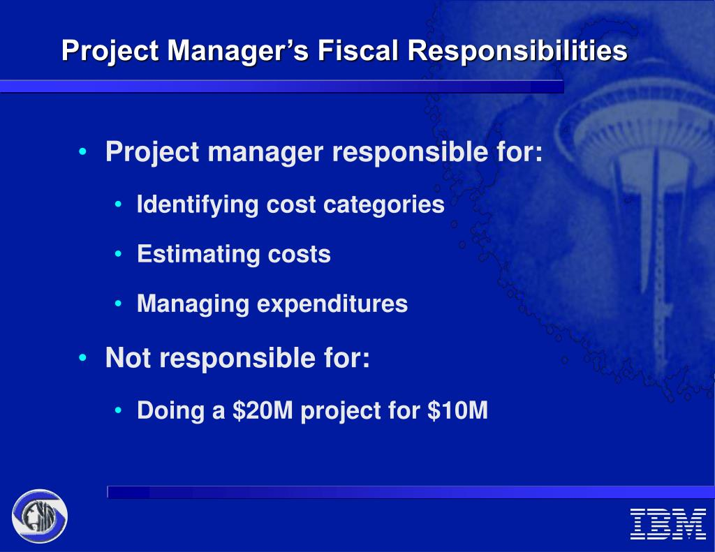 a project manager s responsibilities Experienced it project manager resume sample  recruited by two of the nation's leading it consulting firms to provide project management over large-scale,.