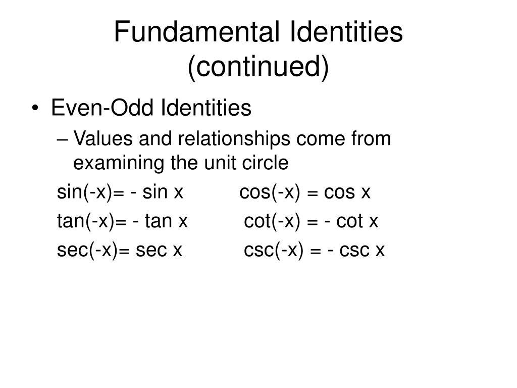 Fundamental Identities