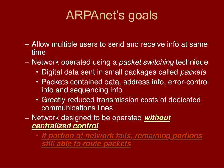 ARPAnet's goals