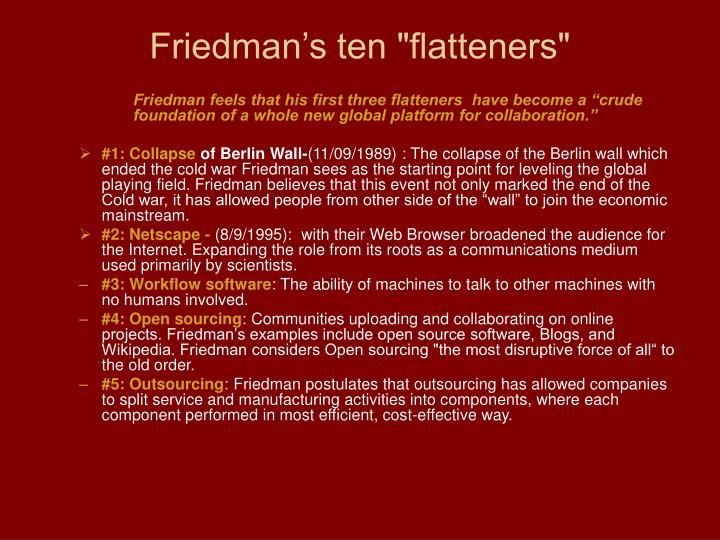 """Friedman's ten """"flatteners"""""""