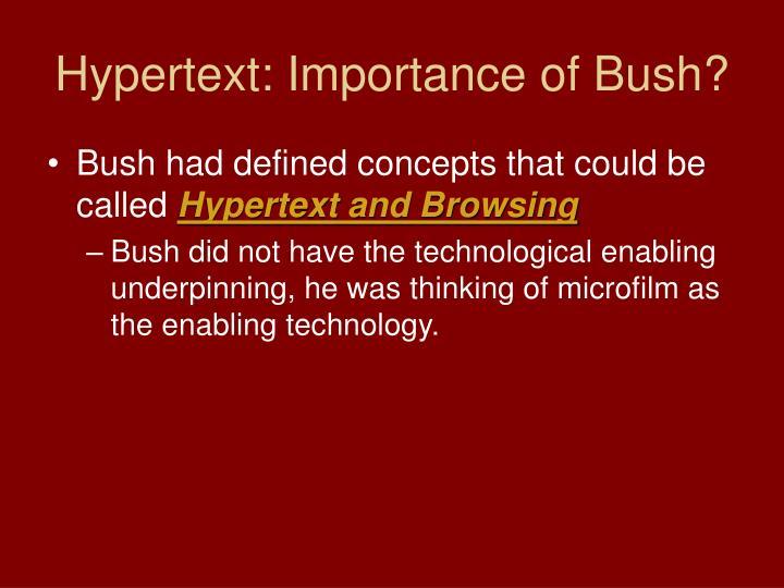 Hypertext: Importance of Bush?