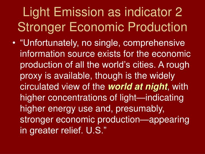 Light Emission as indicator 2 Stronger Economic Production