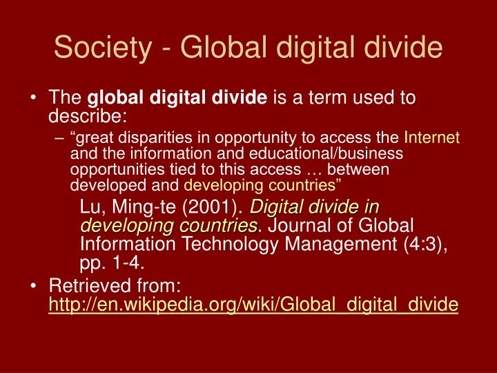 Society - Global digital divide