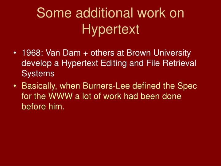 Some additional work on Hypertext