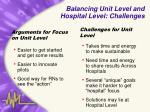 balancing unit level and hospital level challenges