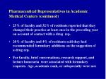 pharmaceutical representatives in academic medical centers continued