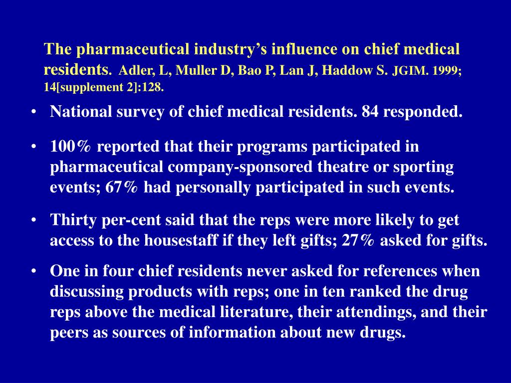 The pharmaceutical industry's influence on chief medical residents