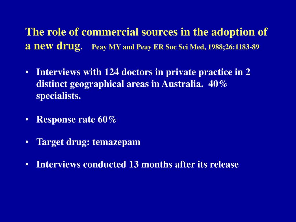The role of commercial sources in the adoption of a new drug