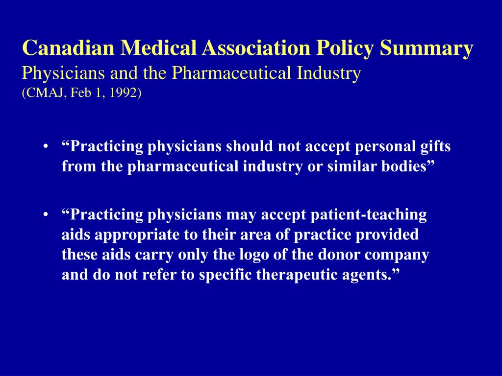 Canadian Medical Association Policy Summary