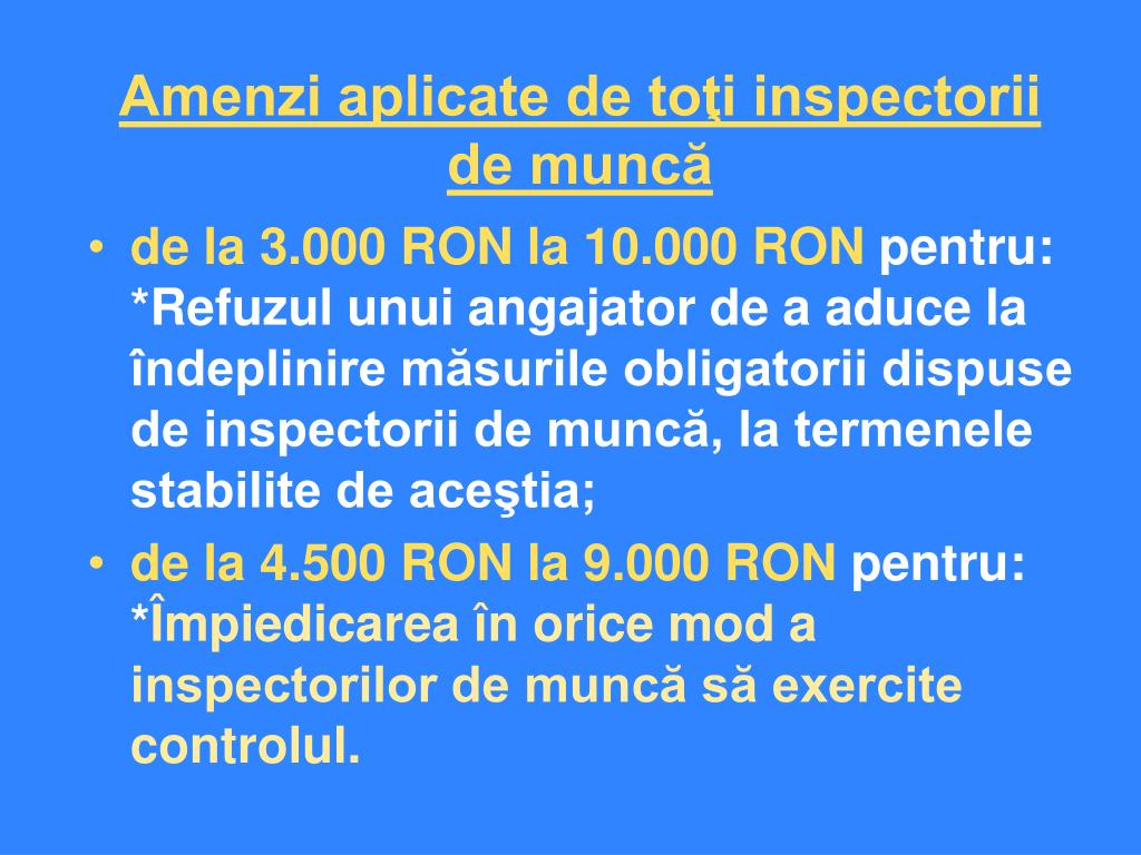Amenzi aplicate de toţi inspectorii de muncă