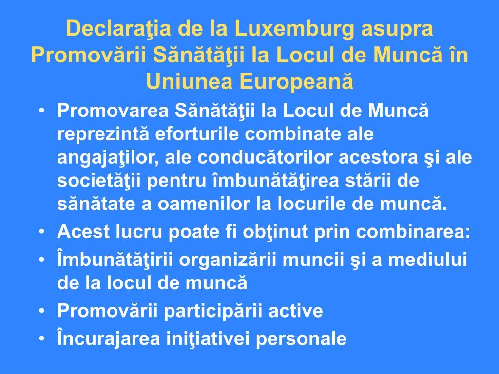 Declaraţia de la Luxemburg asupra Promovării Sănătăţii la Locul de Muncă în Uniunea Europeană