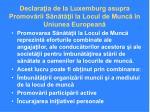 declara ia de la luxemburg asupra promov rii s n t ii la locul de munc n uniunea european