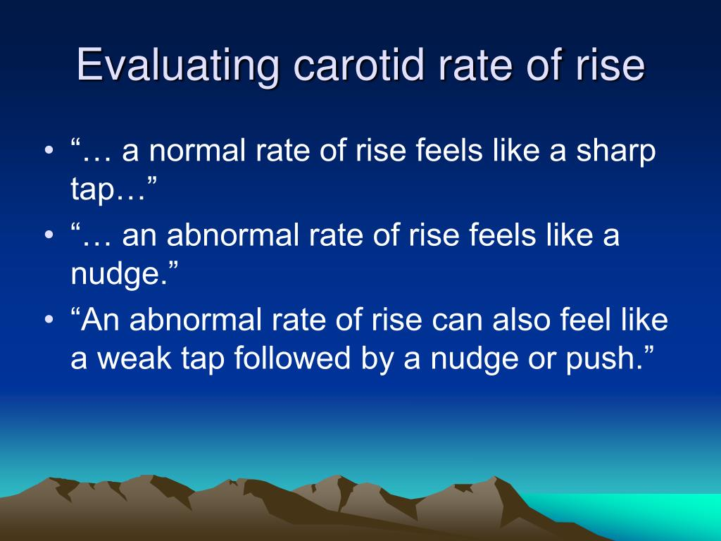 Evaluating carotid rate of rise