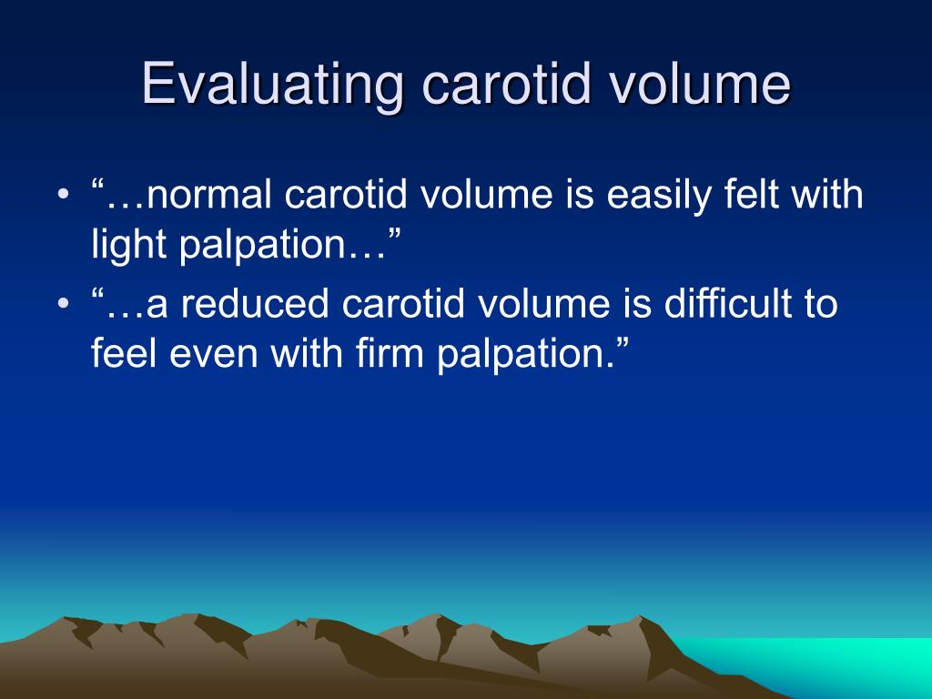 Evaluating carotid volume