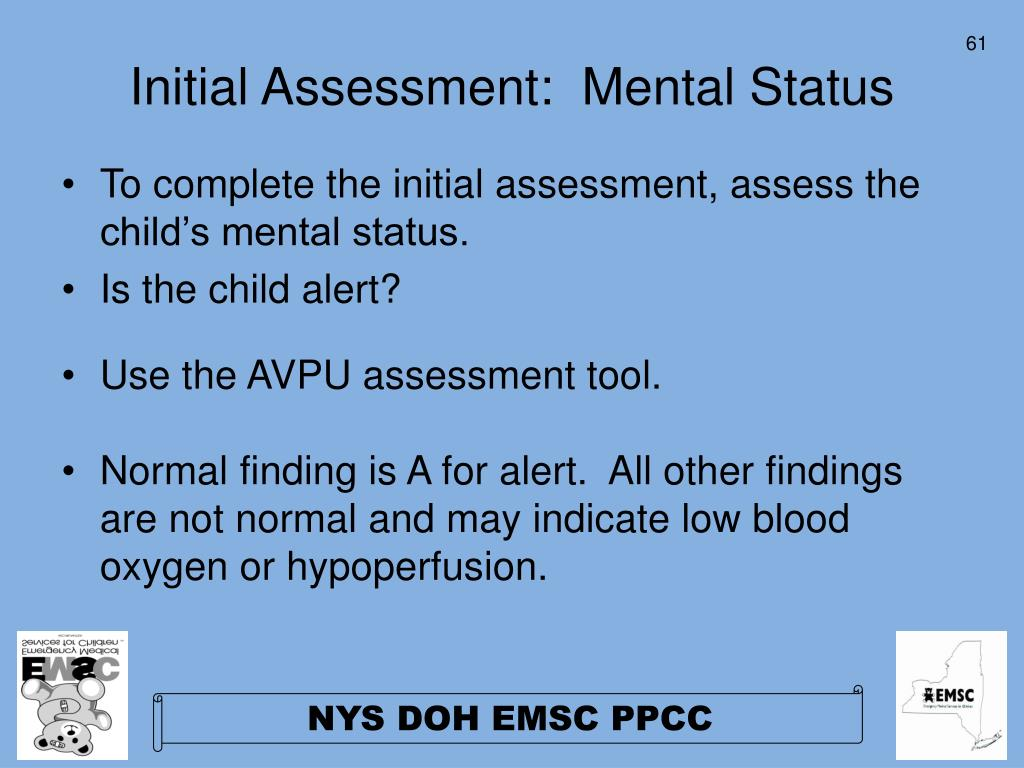 Initial Assessment:  Mental Status
